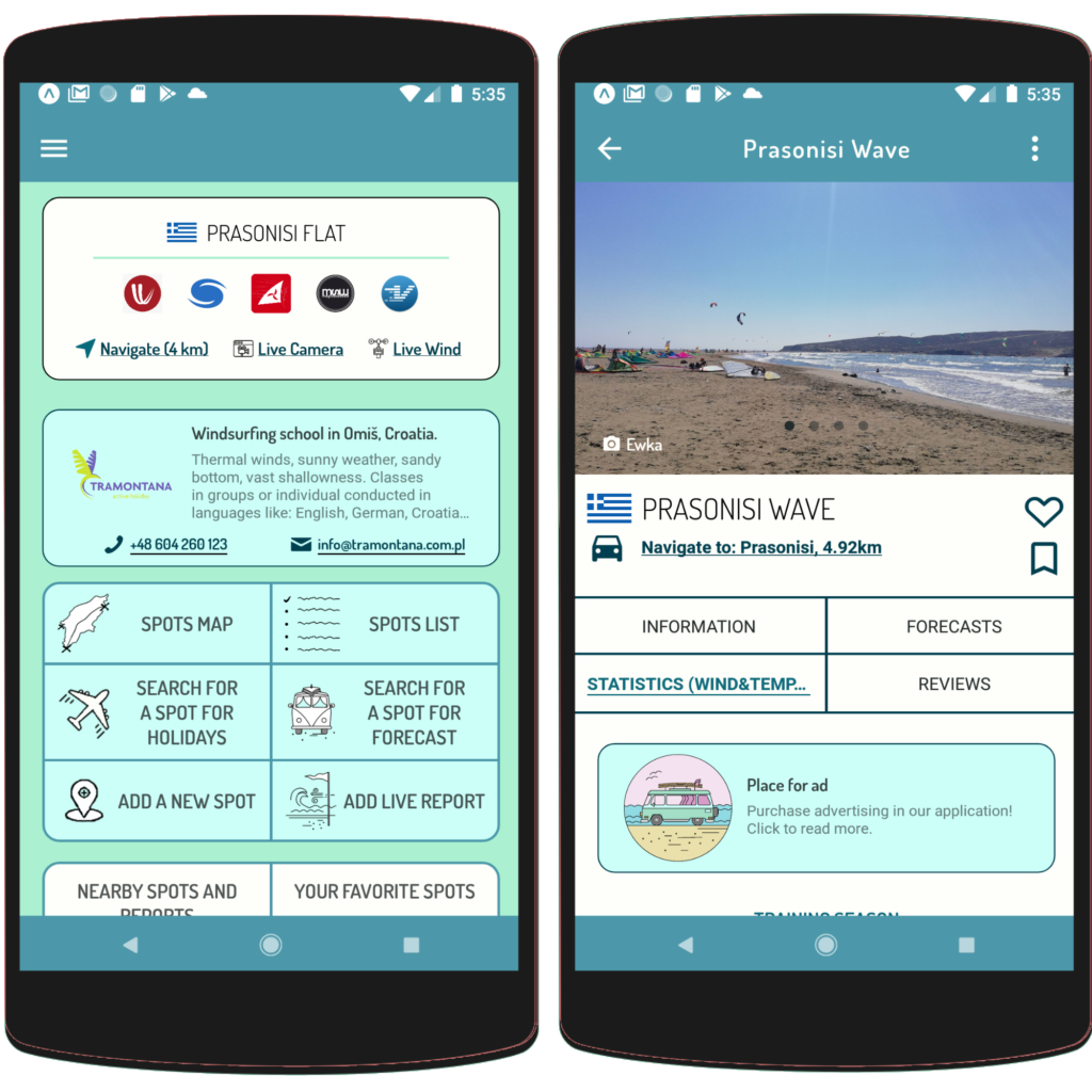Advertising in Surf Advisor - app for windsurfers, kitesurfers and surfers